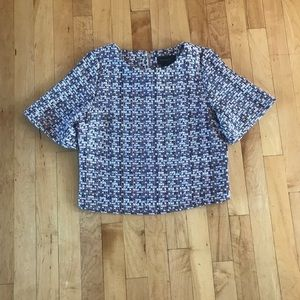 Gracia Tweed Short Sleeve Top